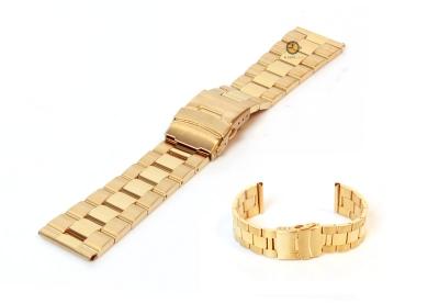 Horlogeband 24mm goud staal deels gepolijst