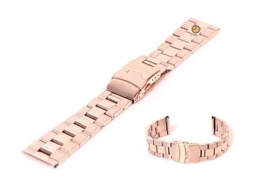 Horlogeband 22mm rosegoud staal deels gepolijst