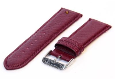 Horlogeband 24mm bordeaux bizon leer