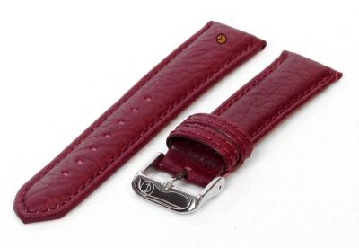 Horlogeband 20mm bordeaux bizon leer