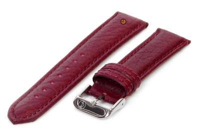 Horlogeband 18mm bordeaux bizon leer