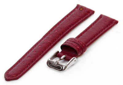 Horlogeband 12mm bordeaux bizon leer