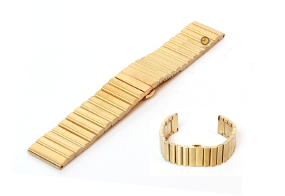 Horlogeband 22mm mat staal goud
