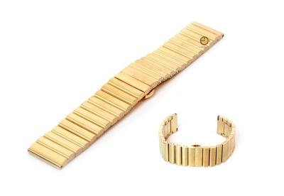 Horlogeband 24mm mat staal goud