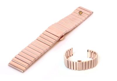 Horlogeband 24mm mat staal rosegoud