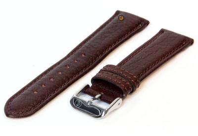 Horlogeband 18mm donkerbruin bizon leer