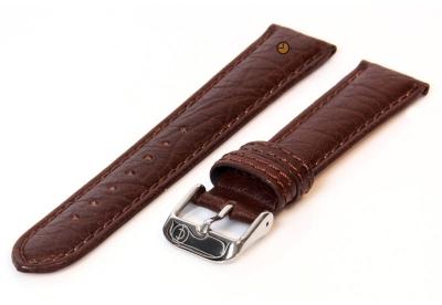 Horlogeband 16mm donkerbruin bizon leer