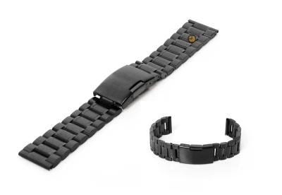 Horlogeband 18mm zwart staal mat/glans
