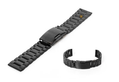Horlogeband 20mm zwart staal mat/glans