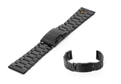 Horlogeband 23mm zwart staal mat/glans