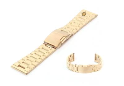 Horlogeband 24mm goud staal mat/glans