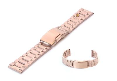 Horlogeband 20mm rosegoud staal mat/glans