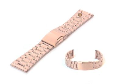 Horlogeband 24mm rosegoud staal mat/glans