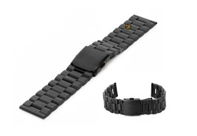 Horlogeband 23mm zwart staal mat