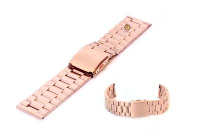 Horlogeband 23mm rosegoud staal mat