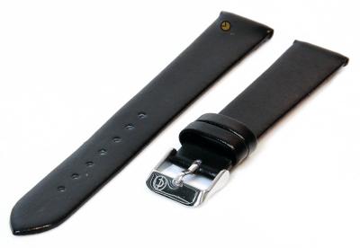 Naadloze horlogeband 16mm zwart stieren leer
