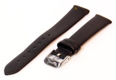 Naadloze horlogeband 14mm zwart stieren leer