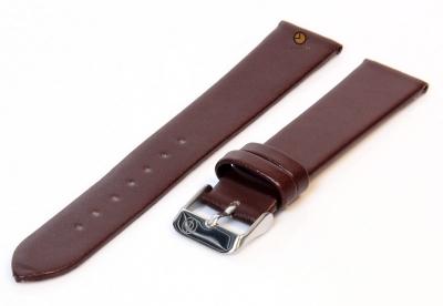 Naadloze horlogeband 16mm donkerbruin stieren leer