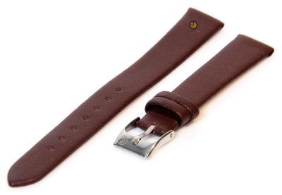 Naadloze horlogeband 14mm donkerbruin stieren leer