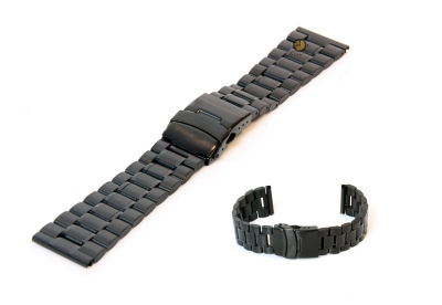Horlogeband 24mm zwart staal mat/glans