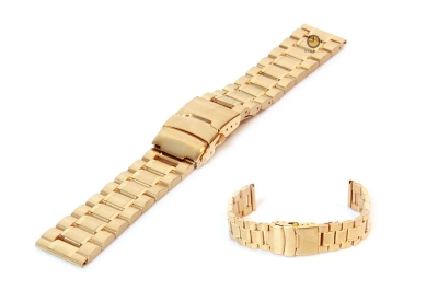 Horlogeband 20mm goud staal mat/glans