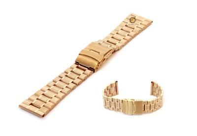 Horlogeband 22mm goud staal mat/glans