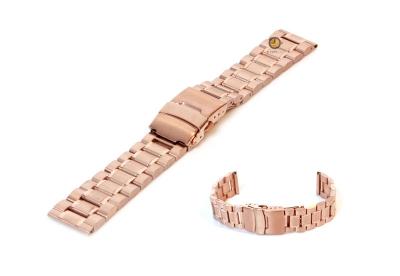 Horlogeband 18mm rosegoud staal mat/glans