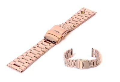 Horlogeband 22mm rosegoud staal mat/glans