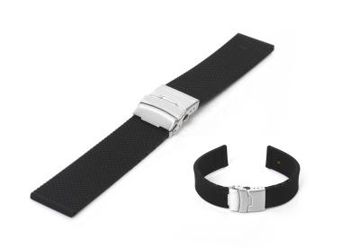 Horlogeband 24mm zwart rubber met vouwsluiting