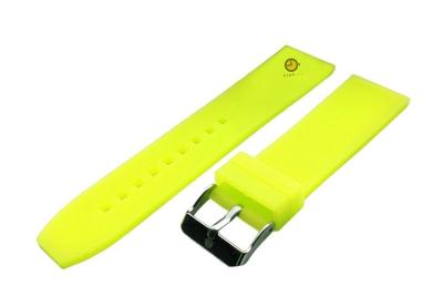 Horlogeband 24mm neon geel siliconen glad