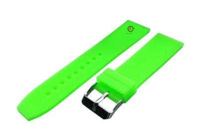 Horlogeband 24mm neon groen siliconen glad