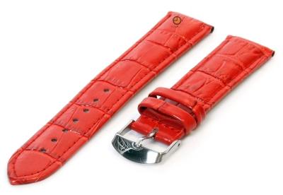 Horlogeband 18mm rood leer croco