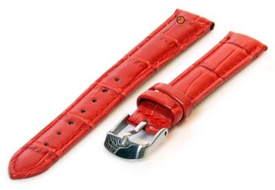 Horlogeband 12mm rood leer kroko