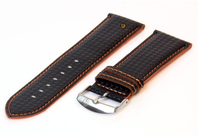 Horlogeband 26mm zwart-oranje waterproof leer