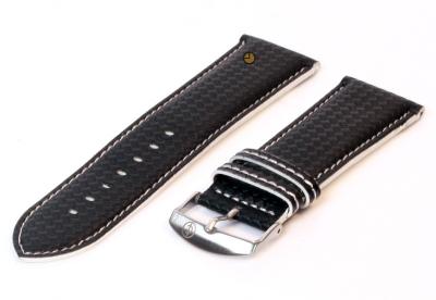 Horlogeband 26mm zwart-wit waterproof leer