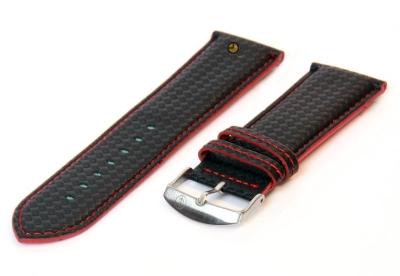 Horlogeband 26mm zwart-rood waterproof leer
