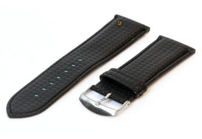 Horlogeband 26mm zwart waterproof leer