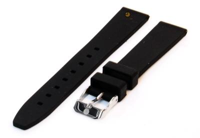 Horlogeband 16mm zwart siliconen glad