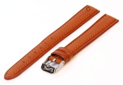 Horlogeband 12mm lichtbruin leer XXL