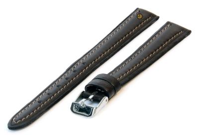 Horlogeband 12mm donkerbruin leer XXL