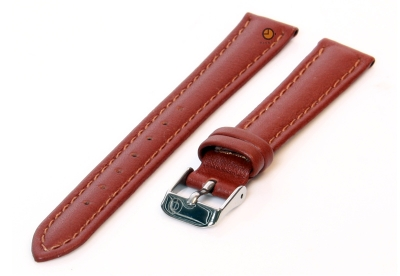 Horlogeband 14mm glad bruin leer