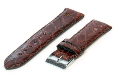 22mm horlogeband echt krokodillenleer roodbruin