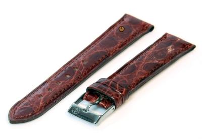 18mm horlogeband echt krokodillenleer roodbruin