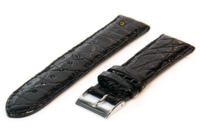 22mm horlogeband echt krokodillenleer zwart