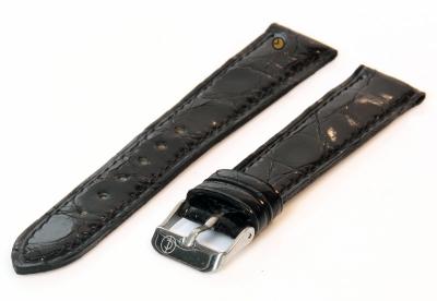 18mm horlogeband echt krokodillenleer zwart