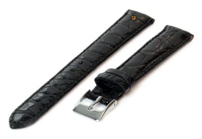 16mm horlogeband echt krokodillenleer zwart