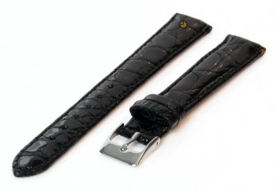 14mm horlogeband echt krokodillenleer zwart