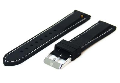 Horlogeband 18mm zwart-wit siliconen met quick-release