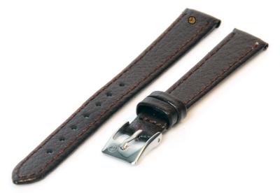 Horlogeband 12mm donkerbruin bizonleer