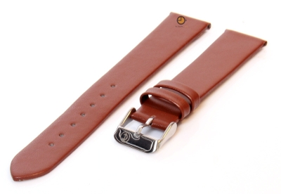 Horlogeband 16mm bruin leer naadloos